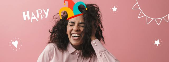 Happy girl in clown hat for Fool's Day Facebook Video cover Design Template