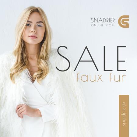 Fashion Sale Woman in Faux Fur Coat Instagram Design Template