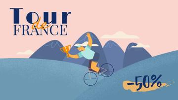 Tour de France Cyclists with Trophy Cup