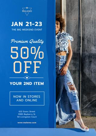 Ontwerpsjabloon van Poster van Fashion Sale with Woman Wearing Denim Clothes