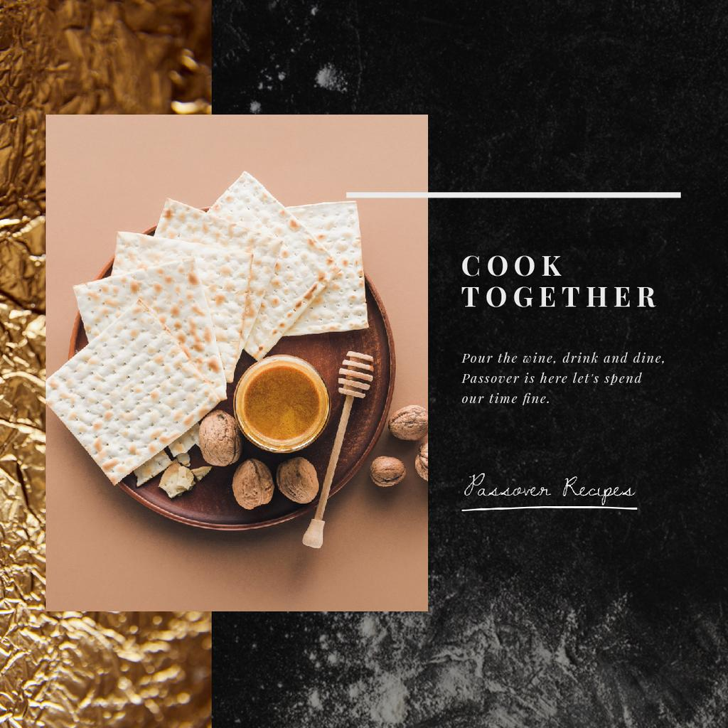 Happy Passover Table Unleavened Bread and Honey | Square Video Template — Modelo de projeto