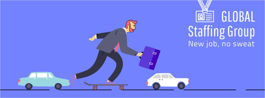 Businessman riding skateboard to work — Créer un visuel