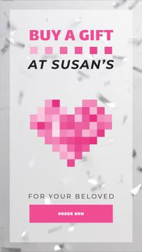 Valentine's Day Gift Store Ad Heart and Confetti