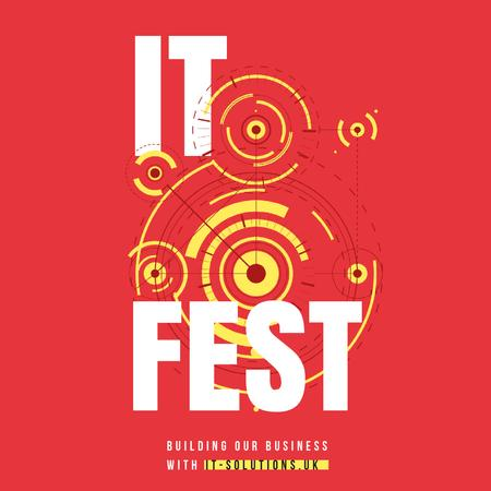 IT Fest Announcement Circles Mechanism Animated Post Modelo de Design