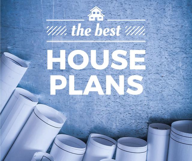 Szablon projektu House Plans Blueprints on table in blue Facebook