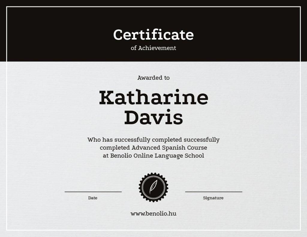Language School Online courses Achievement — Create a Design