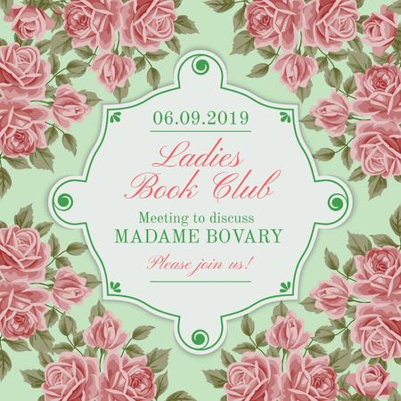 Book Club Meeting announcement with roses Instagram AD Tasarım Şablonu