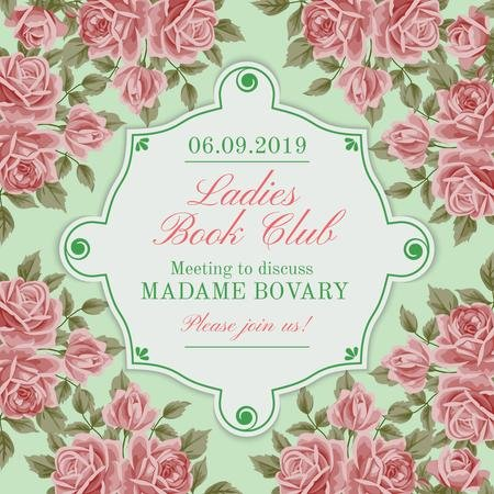 Book Club Meeting announcement with roses Instagram AD – шаблон для дизайна