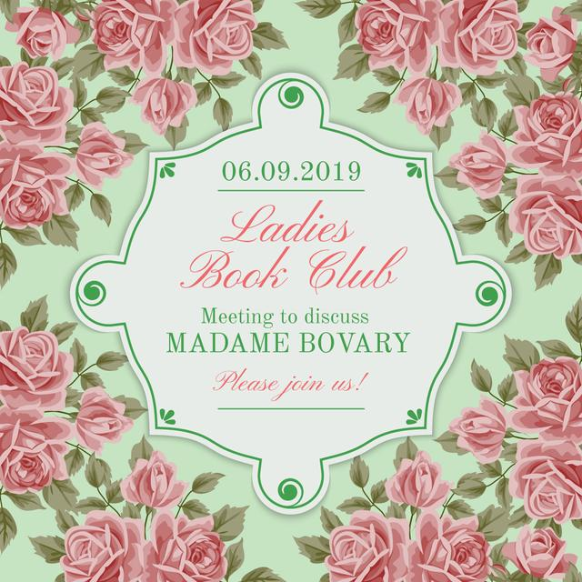 Book Club Meeting announcement with roses Instagram AD Modelo de Design