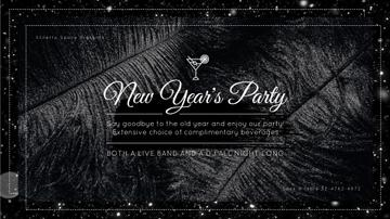 New Year's Party Invitation Black Feathers and Falling Confetti | Full HD Video Template