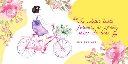 Girl riding bicycle with flowers Image Modelo de Design