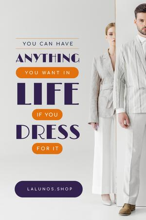 Plantilla de diseño de Fashion Ad with Couple in Light Clothes Pinterest