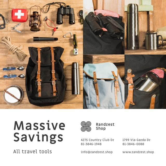 Travel Tools Shop Sale Camping Kit and Backpack Instagram Design Template