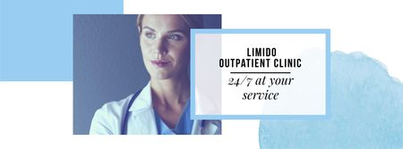 Doctor in uniform with stethoscope Facebook cover – шаблон для дизайну