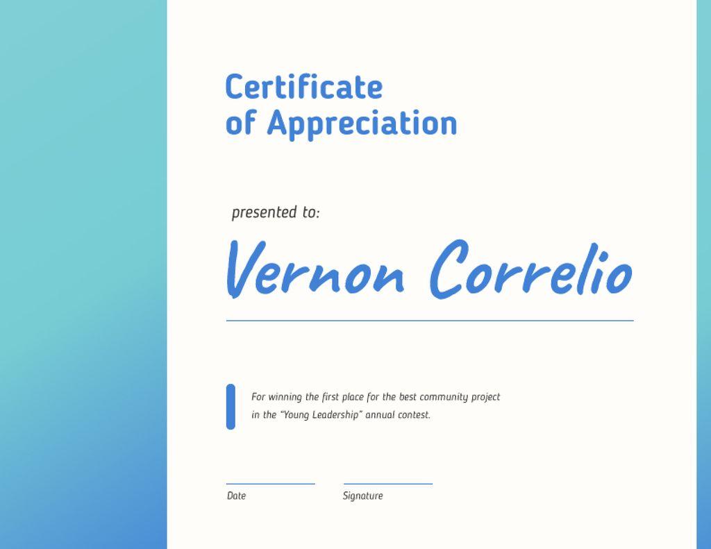 Leadership Contest Appreciation award in blue — Создать дизайн