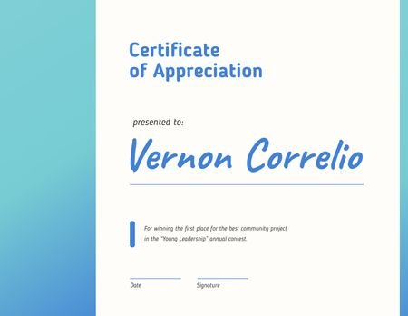 Template di design Leadership Contest Appreciation award in blue Certificate