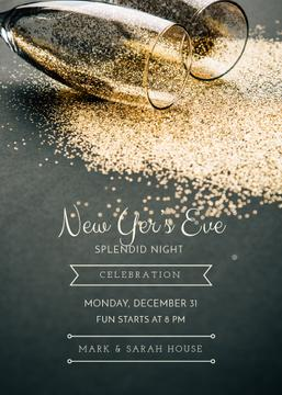 New Year Party Shining Golden Glitter in Glasses | Invitation Template