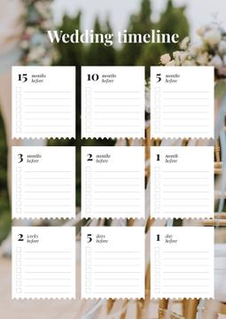 Wedding Timeline Planner with Decorated Holiday Garden