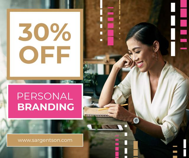 Branding Agency Offer with Businesswoman making notes Facebook Tasarım Şablonu