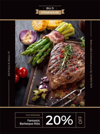 Template di design Restaurant Offer delicious Grilled Steak Poster US