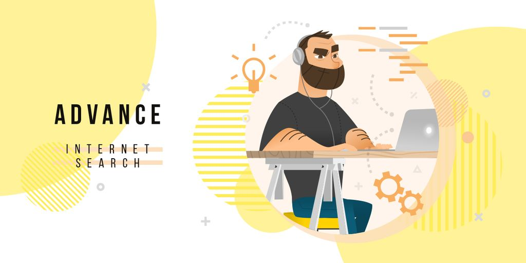 Hipster man working on laptop — Create a Design