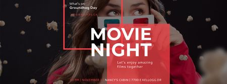 Movie Night Event with Woman in Glasses Facebook coverデザインテンプレート