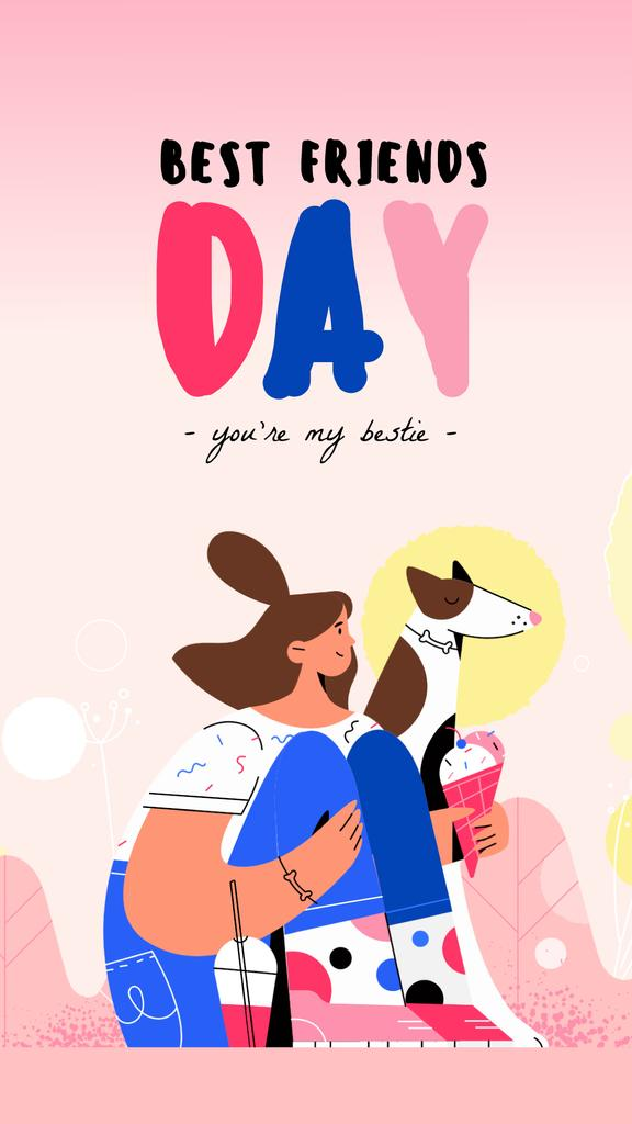 Best Friends Day Girl and Dog Eating Ice-Cream | Vertical Video Template — Create a Design