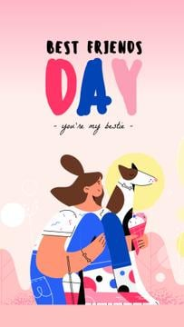 Best Friends Day Girl and Dog Eating Ice-Cream | Vertical Video Template