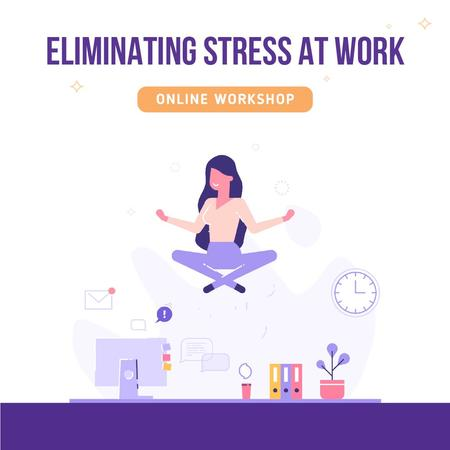 Woman meditating to eliminate stress at work Animated Postデザインテンプレート