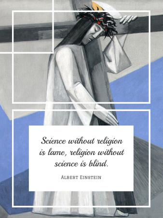 Religion Quote with Christian Cross Poster US – шаблон для дизайна