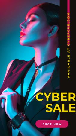Szablon projektu Cyber Monday Sale Woman in Neon Light Instagram Story
