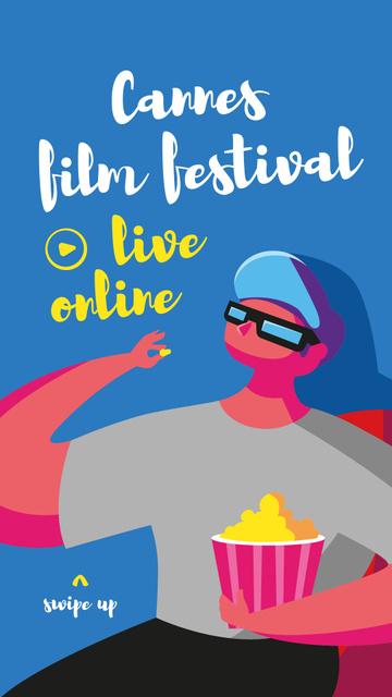 Plantilla de diseño de Cannes Film Festival with Viewer eating Popcorn Instagram Story