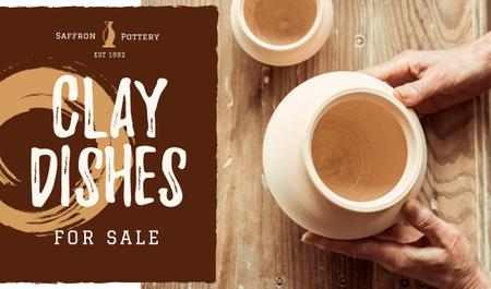 Plantilla de diseño de Ceramics Sale with Hands of Potter Creating Bowl Business card