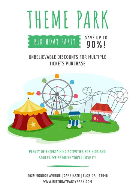 Birthday party in Theme park Poster Šablona návrhu