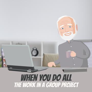 Group of clones working on laptop