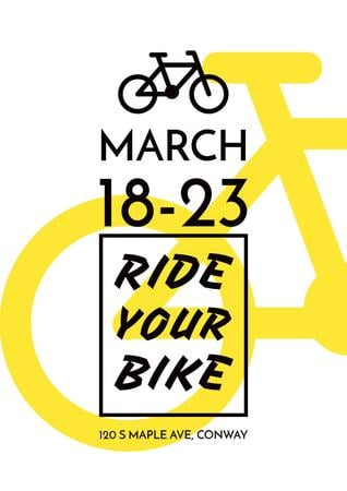 Designvorlage Event Announcement with yellow Bike für Poster