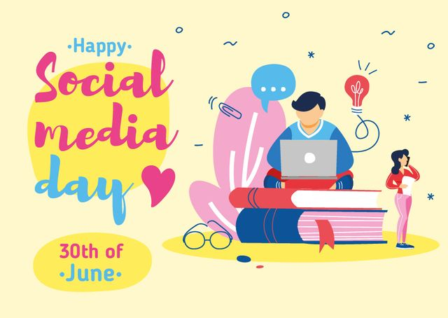 Plantilla de diseño de Social Media Day Greeting with Man Working on Laptop Postcard