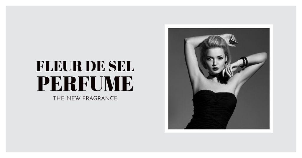 Perfume ad with Fashionable Woman in Black — Crea un design