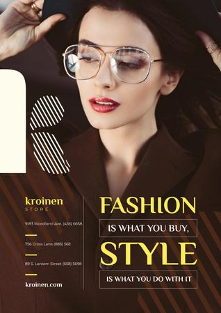 Fashion Store Ad with Woman in Brown Outfit Poster – шаблон для дизайна