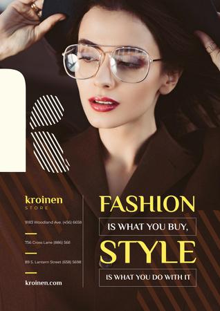 Plantilla de diseño de Fashion Store Ad with Woman in Brown Outfit Poster