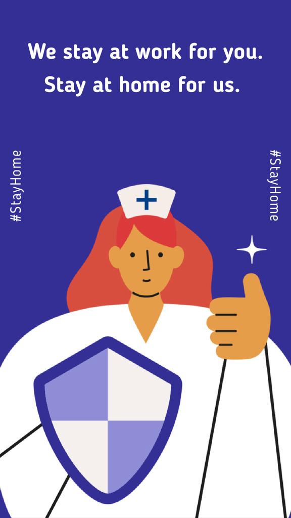 #Stayhome Coronavirus awareness with Supporting Doctor — Crea un design
