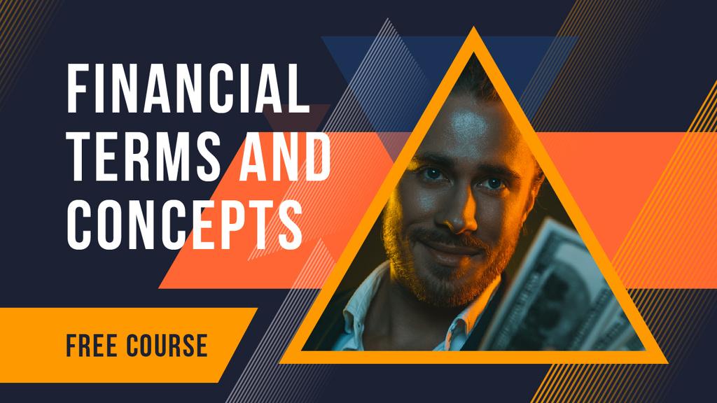 Finances Course Businessman Holding Money — Modelo de projeto