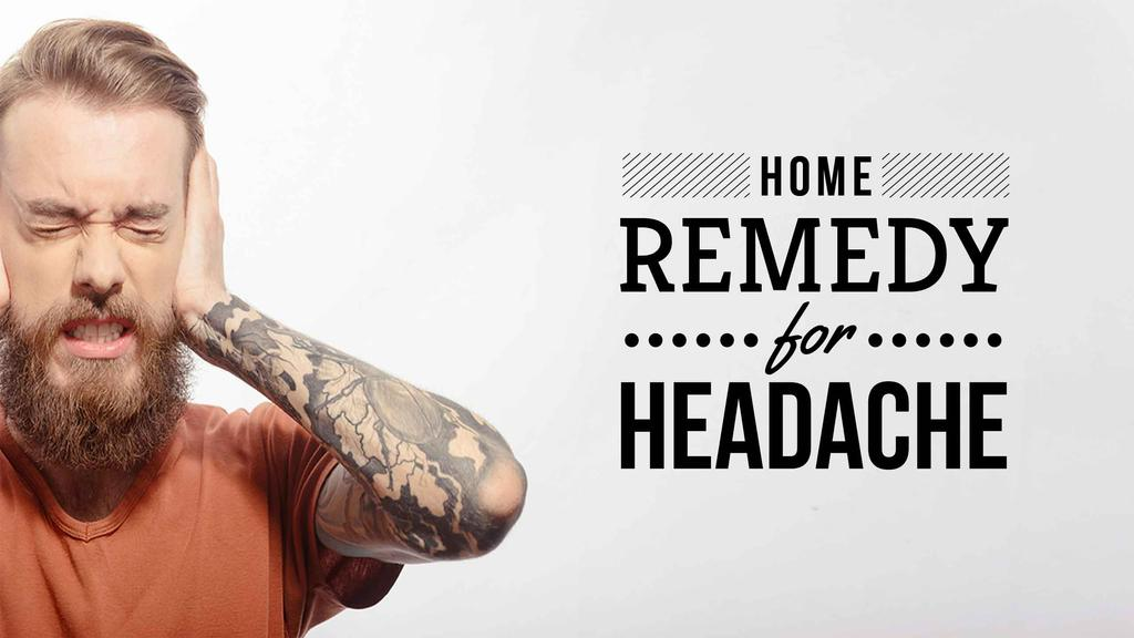 Headache Remedy Ad with Man Suffering from Pain — Créer un visuel