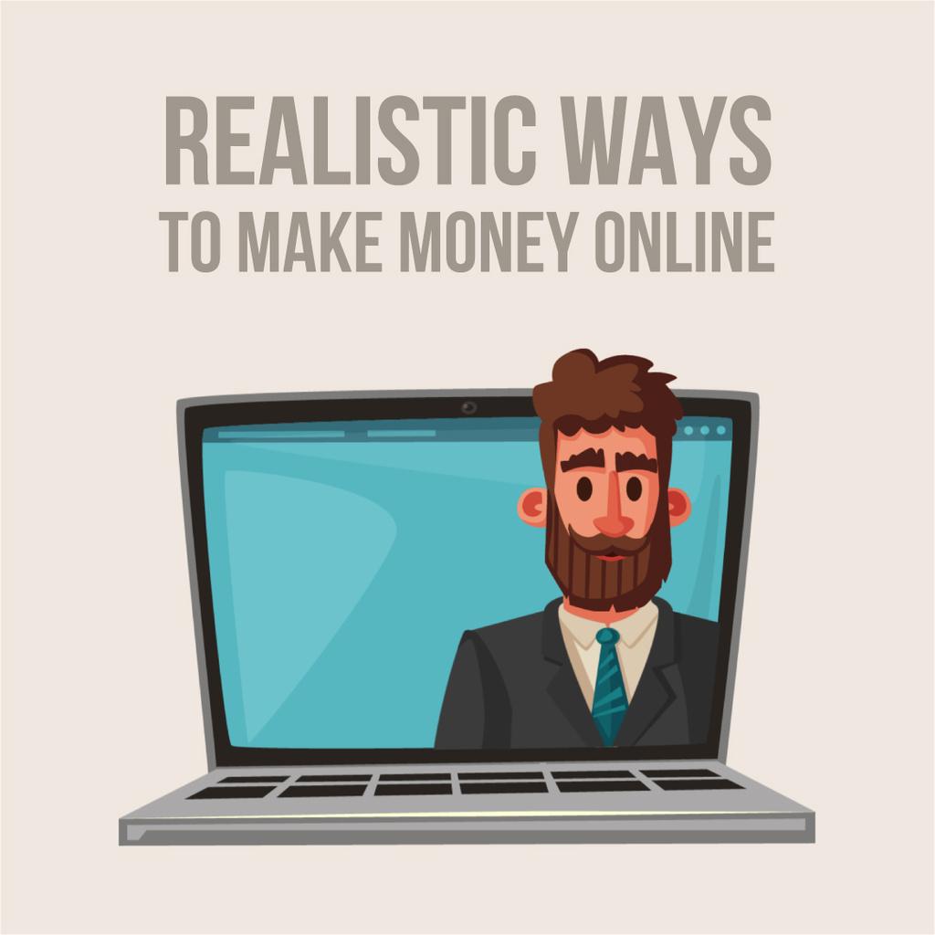 Businessman speaking on laptop screen — Modelo de projeto