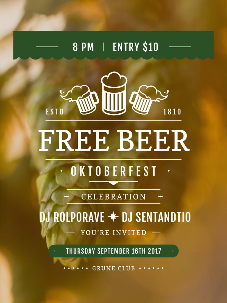 Octoberfest invitation with Beer and hop — Create a Design