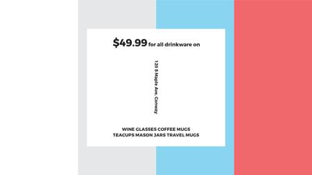 Shop Sale announcement on colorful Stripes FB event cover Design Template