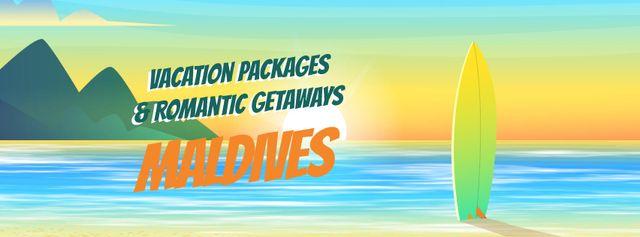 Surfboard on sea beach Facebook Video cover – шаблон для дизайна