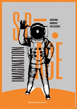 Plantilla de diseño de Space Lecture Astronaut Sketch in Orange Poster