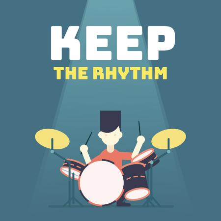 Plantilla de diseño de Rock Star Playing Drums Animated Post