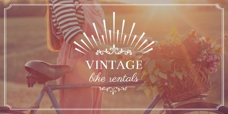 Ontwerpsjabloon van Twitter van Vintage bike rentals Offer